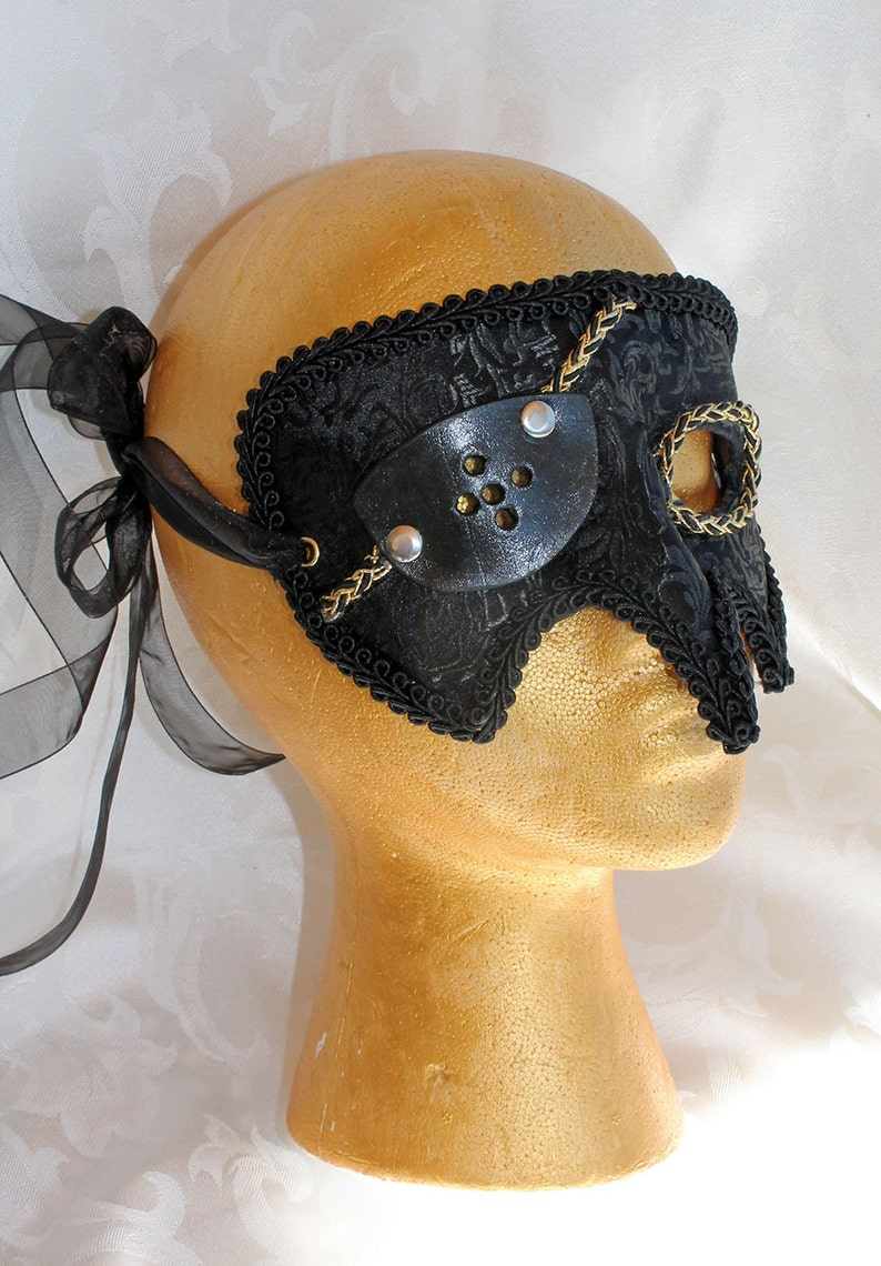MADE TO ORDER Black Brocade and Leather Pirate Renaissance Fair Masquerade Mask with Eye Patch Brocade Pirate Mask