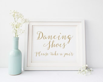 "INSTANT DOWNLOAD - Dancing Shoes Sign 5x7"" or 8x10"" DIY Wedding Signage Printable... Gold"
