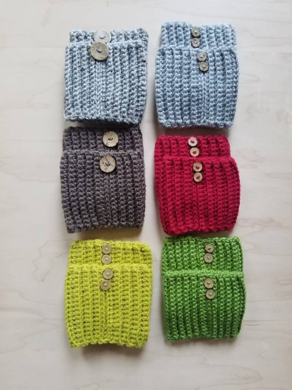 Handmade Crochet Boot Cuffs Boot toppers Boot socks with detachable button