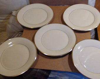 "Vintage Five Lenox 10 5/8 Gold Trim Dinner Plates From The ""Eternal"" Collection"