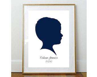 8 x 10 Child Silhouette // Custom Child Portrait // Child Portrait Silhouette // Custom //  8 x 10 Print  //  Keepsake // Personalized Print