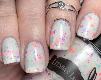 Disco Dinosaurs - White crelly Indie Nail Polish, Neon Glitter Nail Lacquer