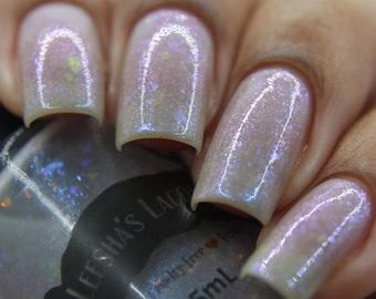 Dragonfly Drive - Grey Crelly Indie Nail Polish, Rainbow Flakie Nail Lacquer