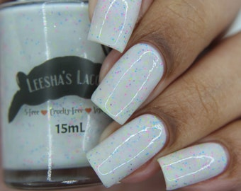 Chameleon Cove - White crelly Indie Nail Polish, Neon Glitter Nail Lacquer