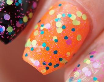 Death Drop - Glitter Nail Polish, Neon Indie Nail Polish, Rainbow Nail Lacquer