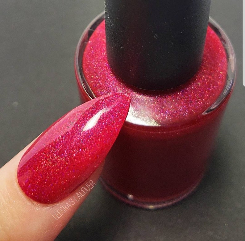 Red Holographic Indie Nail Polish, Cherry Red Holo Nail Lacquer - Cherry  Boom Boom