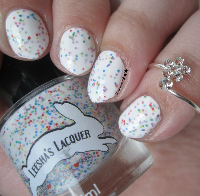 Fruity O's Cereal  White Crelly Indie Nail Polish image 0