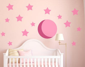 Wall Decals Moon and Stars - Moon and Stars Wall Decals - Vinyl Moon and Stars Decals 0049