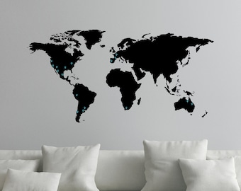 World Map Decal Etsy - World map wallpaper decal