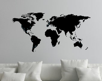 World Map Decal Large World Map Decal for Wall with Location Markers 0050   Etsy World Map Decal