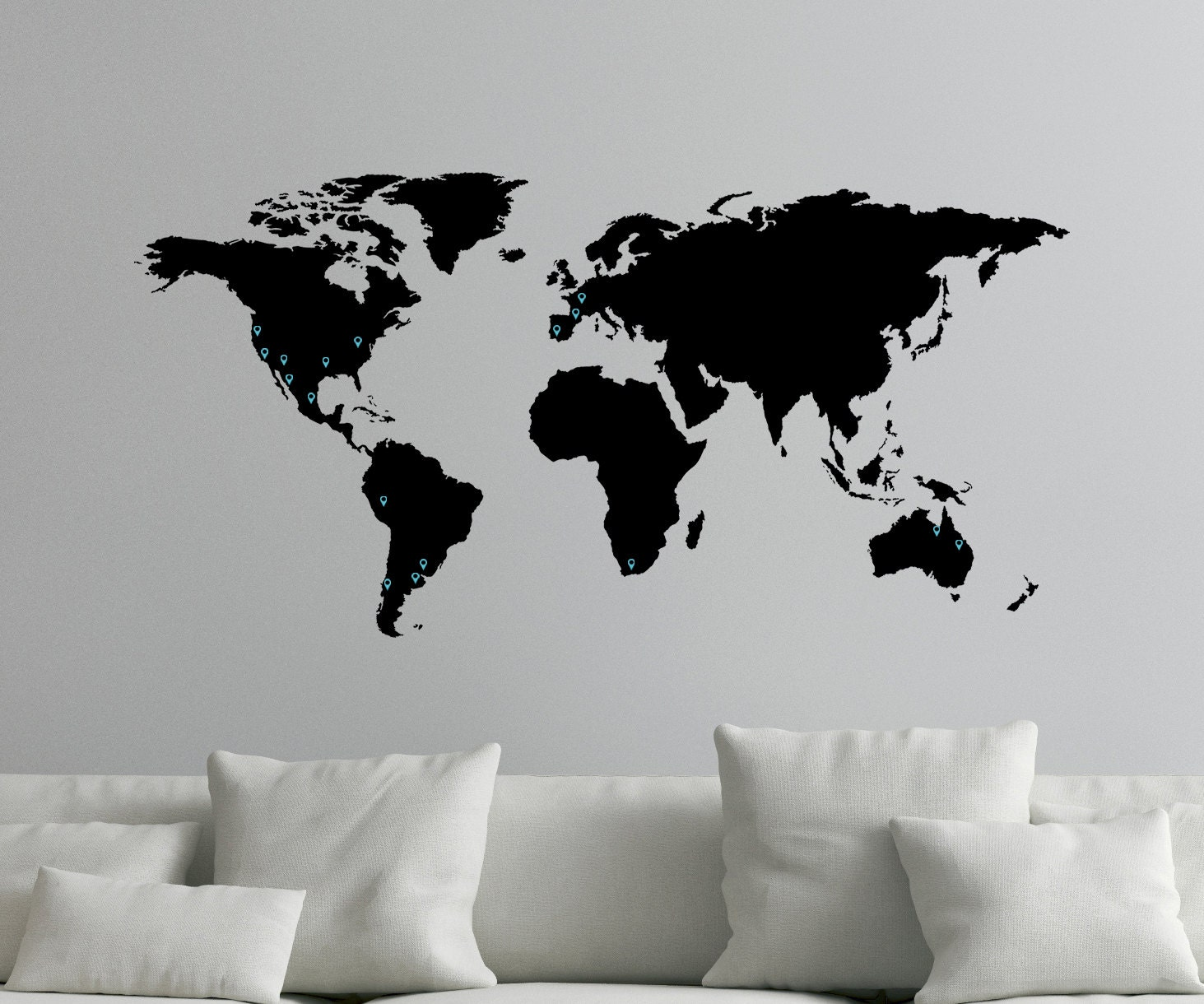 World Map Decal For Wall With Map Markers 0050 Etsy