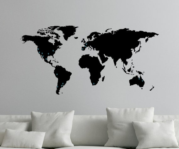 Where To Buy Large World Map.Large World Map Decal For Wall With Location Markers 0050 Etsy