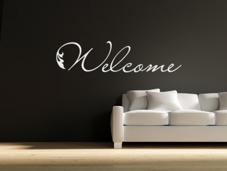 welcome sticker vinyl welcome decal welcome vinyl wall art   etsy