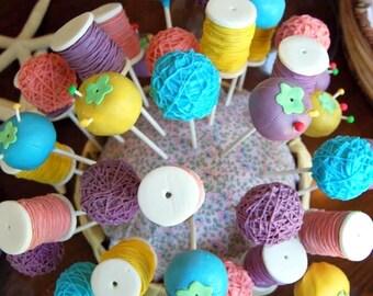 Sewing Themed Yarn, Pin Cushion, & Thread Cake Pops (Regular or Gluten Free*)