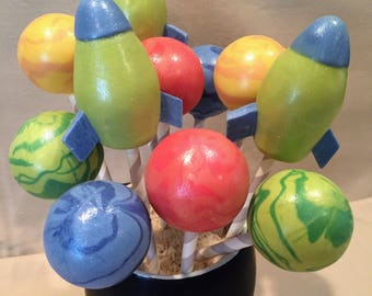 Planets and Rockets Cake Pops (Regular or Gluten Free*)