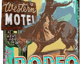 Rodeo, Bucking Horse, Western, Cactus, Vintage, INSTANT DIGITAL Download, Sublimation PNG, Art Print