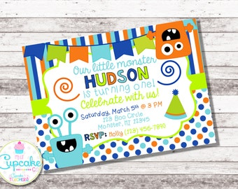 Boy's Monster Birthday Invitation | Little Monster Invitation | Monster Party | Monster Invitation | 1st 2nd 3rd Any Age Birthday | Digital