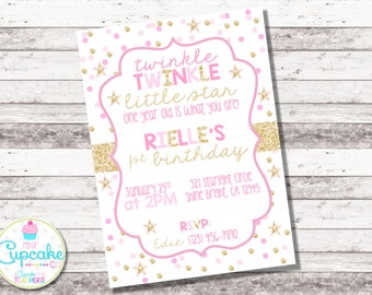 Twinkle Twinkle Little Star Invitation | Twinkle Twinkle Little Star Birthday | Pink and Gold | Glitter | Little Star Birthday | Digital