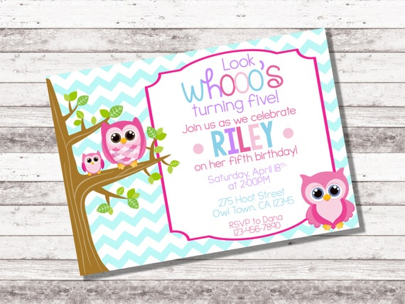 Girls Owl Birthday Invitation 1st 2nd