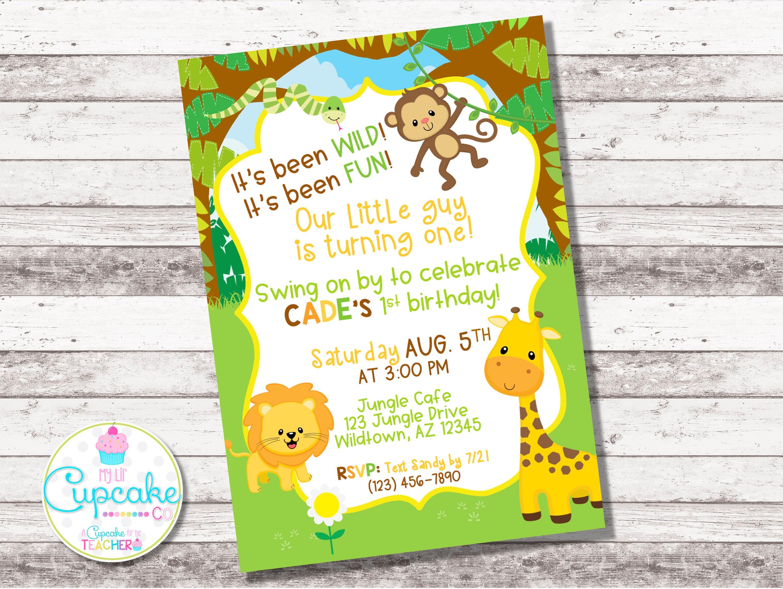 Jungle Birthday Invitation Any Age Safari Invite
