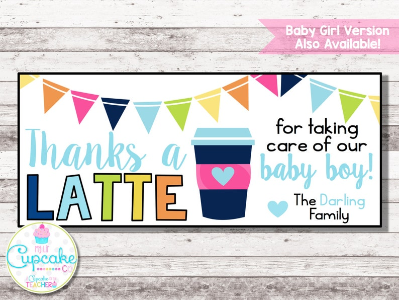 picture about Thanks a Latte Printable titled Because of a LATTE Printable Thank Your self Card Thank By yourself Take note for Espresso Reward  Thank By yourself a Latte Labor Transport Reward Nurse Present Electronic