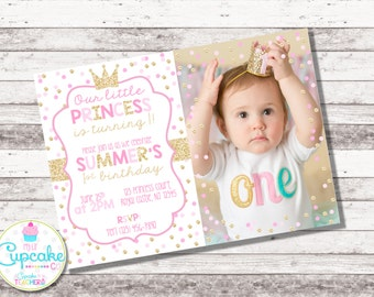Pink and Gold Princess Birthday Invitation with PHOTO | Pink Gold Princess Party Invite | 1st 2nd Birthday | Girl | Glitter | Digital