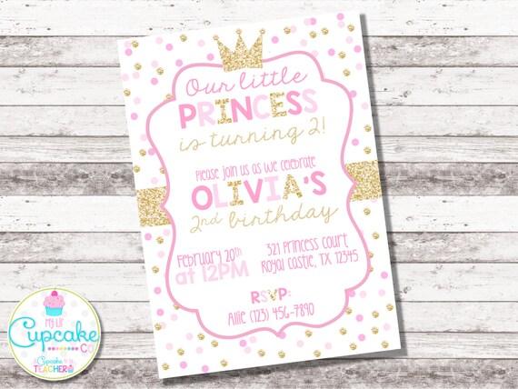 Pink And Gold Princess Birthday Invitation