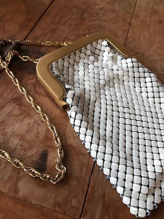 Vintage Whiting & Davis White Mesh Handbag with Go