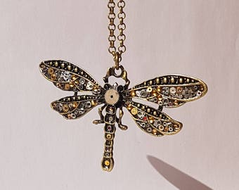 Steampunk necklace, Steampunk Dragonfly necklace. Dragonfly necklace. Shades of Autumn.