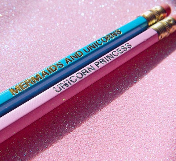 Stationary Mermaid and Unicorn Pencils Gift For Her UNICORN gift Quote Pencils Gold and Silver Engraved