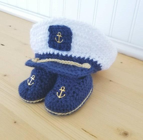 733dffee1 Baby Sailor Set - Crochet Baby Sailor Hat - Newborn Photo Prop Set -  Crochet Photo Prop - Baby Shower Gift - Navy Baby Hat