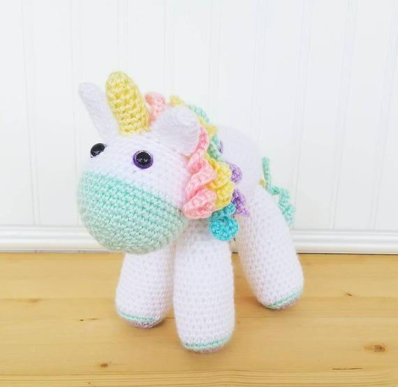 Crochet Unicorn Plush Large Unicorn Stuffed Animal Toddler Etsy