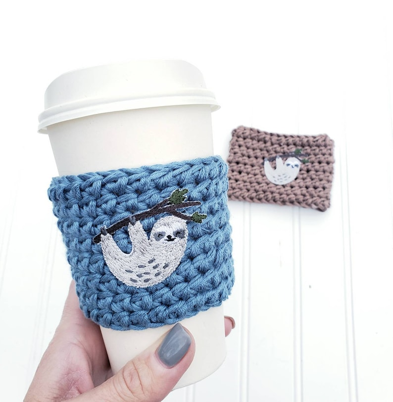 Sloth Coffee Cozy  Crochet Coffee Cozy  Sloth Gift  image 0