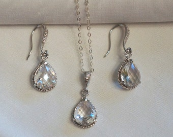Bridal Necklace Crystal Bridal Jewelry Sapphire Necklace Bridesmaid Jewelry Wedding Jewelry