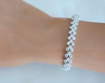 Crystal Bridal Bracelet, Wedding Jewelry for Brides Bracelet, Bridal tennis bracelet, Bridesmaid Bracelet, Bridal Accessories