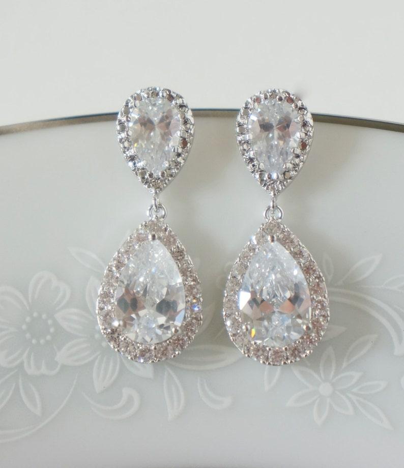 Crystal Bridal Earrings Wedding Jewelry Swarovski Crystal  3497c442cd