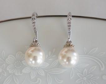 Pearl Bridal Earrings Wedding Jewelry for Brides Pearl Bridesmaid Earrings Pearl Bridal Jewelry Wedding Jewelry