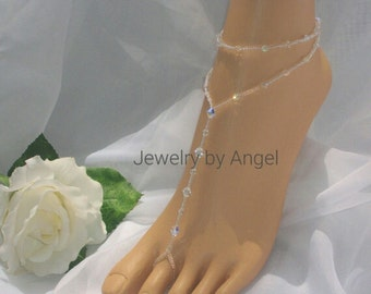 Crystal Bridal Barefoot Sandal & Anklet Set Wedding Foot Jewelry