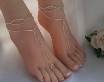 Crystal Bridal Barefoot Sandal & Anklet Set Crystal Wedding Foot Jewelry