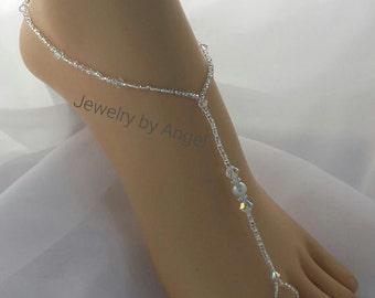 Crystal Bridal Barefoot Sandal Crystal Wedding Foot Jewelry