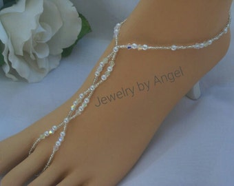 AB Crystal & Pearl Foot Jewelry -  Barefoot Sandal