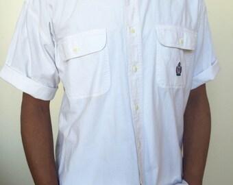 814ae5ed1 Vintage men's bugle boy white button down short sleeve shirt polo