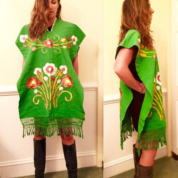 Green embroidered floral fringe 60s 70s 80s 90s p… - image 4