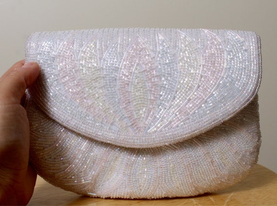 VTG white pearl pastel colors and white sequin bea