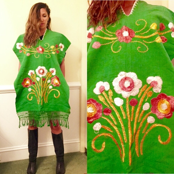 Green embroidered floral fringe 60s 70s 80s 90s p… - image 1
