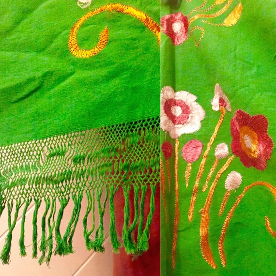 Green embroidered floral fringe 60s 70s 80s 90s p… - image 2