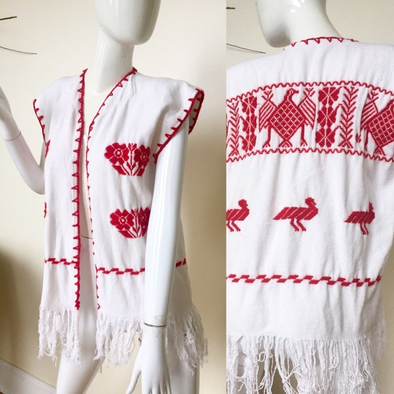 Red and white embroidered floral fringe 60s 70s 80