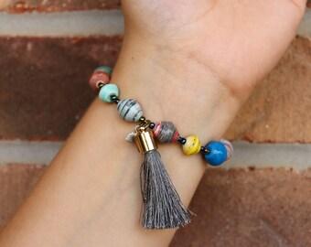 Gray Tassel Charm Bracelet
