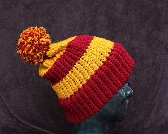 Harry Potter Gryffindor INSPIRED slouchy knit hat with pom pom