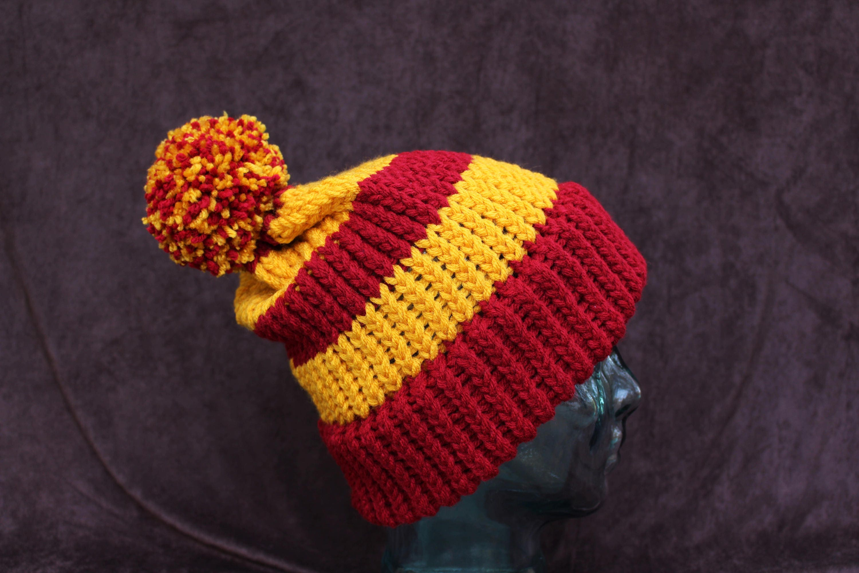 528e4f7280f Harry Potter Gryffindor INSPIRED slouchy knit hat with pom pom